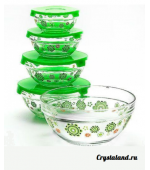 Набор суповых стеклянных мисок с крышками купить