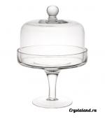 Прозрачная стеклянная ваза на высокой ножке с крышкой