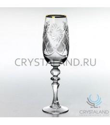 Набор бокалов с отводкой золотом, 6 шт., 210 гр.