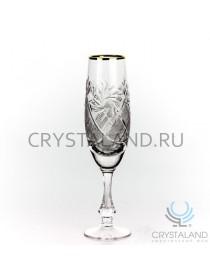 Набор хрустальных бокалов для шампанского (отводка золотом), 6 шт, 170 гр.