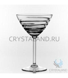 Набор хрустальных бокалов для мартини на тонкой ножке, 6 шт, 180 гр.
