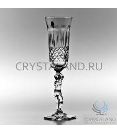 Набор хрустальных бокалов для шампанского (отводка золотом), 6 шт, 180 гр.