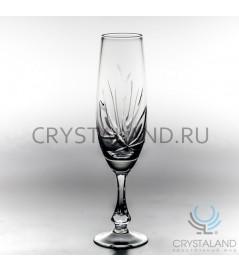 """Xрустальные бокалы для шампанского """"Лотос"""", набор из 6 шт, 170 гр."""