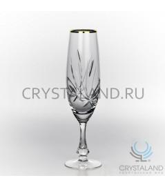 """Набор хрустальных бокалов для шампанского """"Лотос"""" (отводка золотом), 6 шт, 170 гр."""