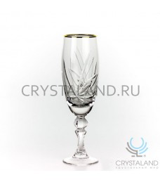 """Набор хрустальных бокалов для шампанского """"Лотос"""" (отводка золотом), 6 шт, 200 гр."""