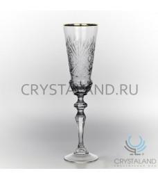 Набор хрустальных бокалов для шампанского (отводка золотом), 6 шт, 190 гр.