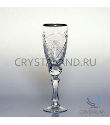 Набор хрустальных бокалов для вин и шампанского (отводка золотом), 6 шт, 170 гр.