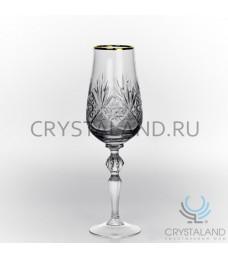Набор хрустальных бокалов для вин и шампанского (отводка золотом), 6 шт, 190 гр.
