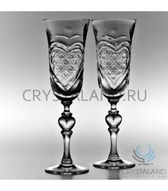 Набор свадебных хрустальных бокалов для шампанского, 2 шт, 220 гр.