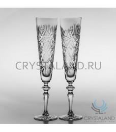 Набор свадебных хрустальных бокалов для шампанского, 2 шт, 225 гр.