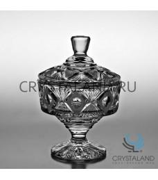 Хрустальная ваза для конфет с крышкой, 18 см