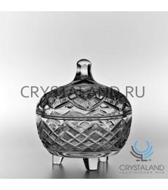 Хрустальная вазочка для конфет с крышкой, 14 см