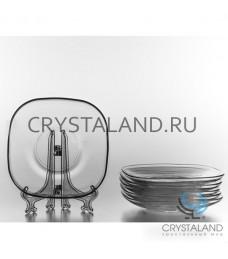 Набор стеклянных блюдец для чайного стаканчика, 12.5 см