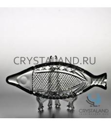 Рыбница из бесцветного хрусталя, 24.5 см