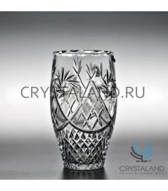 Хрустальная ваза для цветов, бесцветный хрусталь 22.5 см.