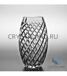 Хрустальная ваза для цветов, бесцветный хрусталь 23 см.