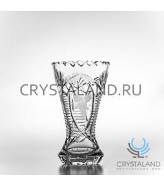 Хрустальная ваза для цветов, бесцветный хрусталь 19 см.