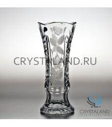 """Хрустальная ваза для цветов """"Малина"""" (средняя), с гравировкой 24 см."""