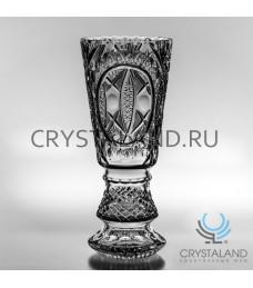 Хрустальная ваза для цветов под гравировку, бесцветный хрусталь 37 см.