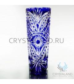 Синяя ваза для цветов из цветного хрусталя кобальт 30 см.