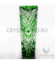 Зеленая ваза для цветов из цветного хрусталя 30 см.