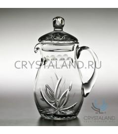 """Хрустальный кувшин для напитков """"Лотос"""" (с крышкой) 1 литр"""