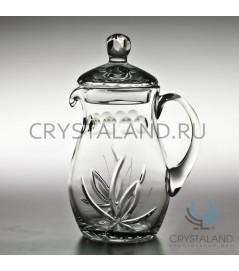 """Хрустальный кувшин для напитков """"Лотос"""" (с крышкой) 1,5 литра"""