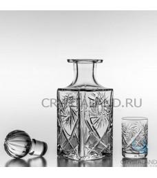 Хрустальный подарочный набор для алкогольных напитков: штоф и 6 стаканов