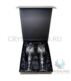 Набор хрустальных бокалов для шампанского и вина в коробке, 2 шт, 210 гр.