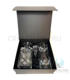 Подарочный хрустальный набор для виски в коробке штоф и два стакана