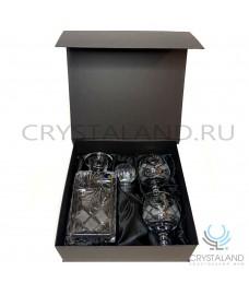 Подарочный набор для коньяка в коробке штоф и два фужера