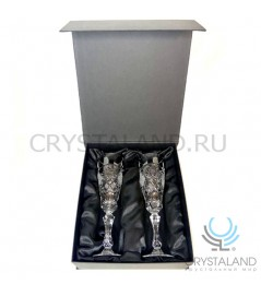 Подарочный набор хрустальных бокалов для шампанского и вина в коробке, 2 шт, 170 гр.