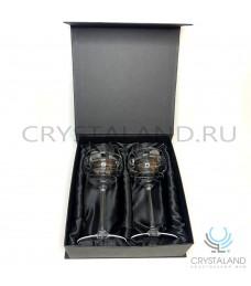 Хрустальные фужеры для шампанского и вина в подарочной коробке, 2 шт, 300 гр.