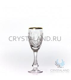Набор хрустальных рюмок с золотой отводкой, 6 шт, 70 гр