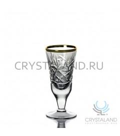 Набор хрустальных рюмок с золотой отводкой, 6 шт, 25 гр