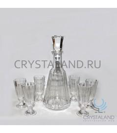 """Набор для спиртных напитков """"Ретро"""": хрустальный графин набор из 6 хрустальных рюмок, 0.5 литра"""
