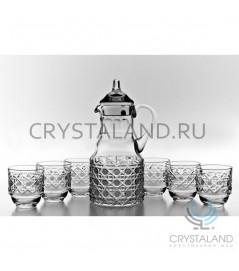 """Хрустальный сервиз """"Классика"""": кувшин для напитков с 6 стаканами, 1.25 литра"""
