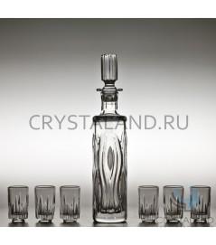 """Хрустальный сервиз """"Крокус"""" из графина и 6 стопок, 0.2 литра"""
