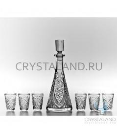 Набор для спиртных напитков: хрустальный графин и набор из 6 хрустальных стопок, 0.35 литра