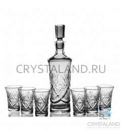 """Набор для спиртных напитков """"Колокольчик"""": хрустальный штоф и набор из 6 хрустальных фужеров, 0.4 литра"""