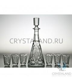 """Набор для спиртных напитков """"Нежность"""" : хрустальный штоф и набор из 6 хрустальных стопок, 0.35 литра"""