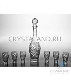 """Набор для спиртных напитков """"Татьяна"""": хрустальный графин и набор из 6 хрустальных стопок, 0.45 литра"""