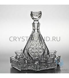 Набор: хрустальный графин, поднос и 8 стопок, 0.75 литра