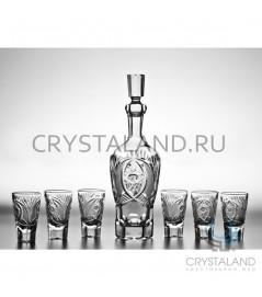 """Подарочный набор """"Банкетный"""" для спиртных напитков: хрустальный графин и набор из 6 хрустальных стопок"""