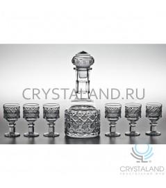 """Подарочный набор """"Богатырь"""" для спиртных напитков: хрустальный штоф и набор из 6 хрустальных рюмок, 0.6 литра"""