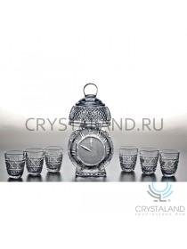 """Подарочный набор """"Будильник"""" для спиртных напитков: хрустальный штоф и набор из 6 хрустальных стопок, 0.3 литра"""
