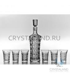 """Подарочный набор для спиртных напитков """"Колокольчик"""": хрустальный штоф и набор из 6 хрустальных рюмок, 0.45 литра"""