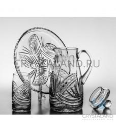 Сервиз для напитков:кувшин, 3 стакана и поднос из бесцветного хрусталя, 2 литра