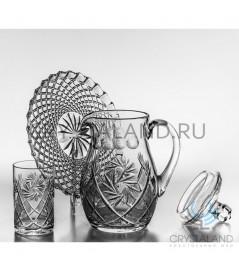 Сервиз: хрустальный кувшин, 3 стакана и поднос, 1.5 литра