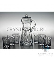 """Сервиз """"Нежность:хрустальный кувшин и 6 стаканов, 1.1 литр"""